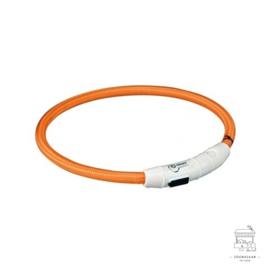 TRIXIE HALSBAND FLASH LIGHT LICHTGEVEND USB OPLAADBAAR ORANJE 7 MMX65 CM