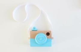 Manowoods houten camera blauw