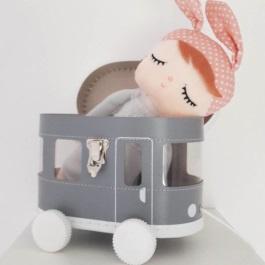 Kids boetiek tram speelkoffertje grijs