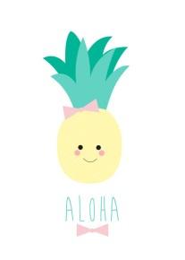 Studio lily rose Aloha pineapple poster a4