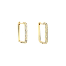 White & gold hoops
