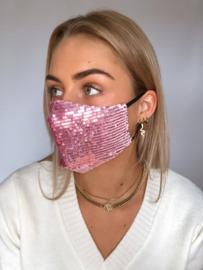 Pink glitter mondkapje