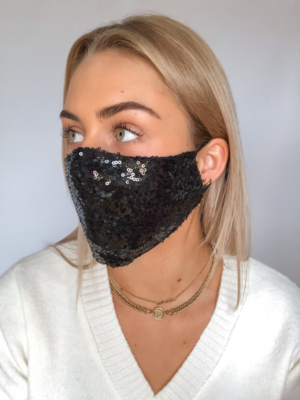 Black glitter mondkapje