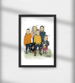 Groepsportret kleur, vijf kinderen met huisdieren