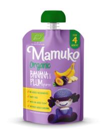 Mamuko biologische banaan en pruimen puree 4+ mnd