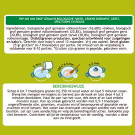 Mamuko biologische pap 12+ mnd. - grof gemalen haver, groene boekweit, gerst, spelttarwe en rogge