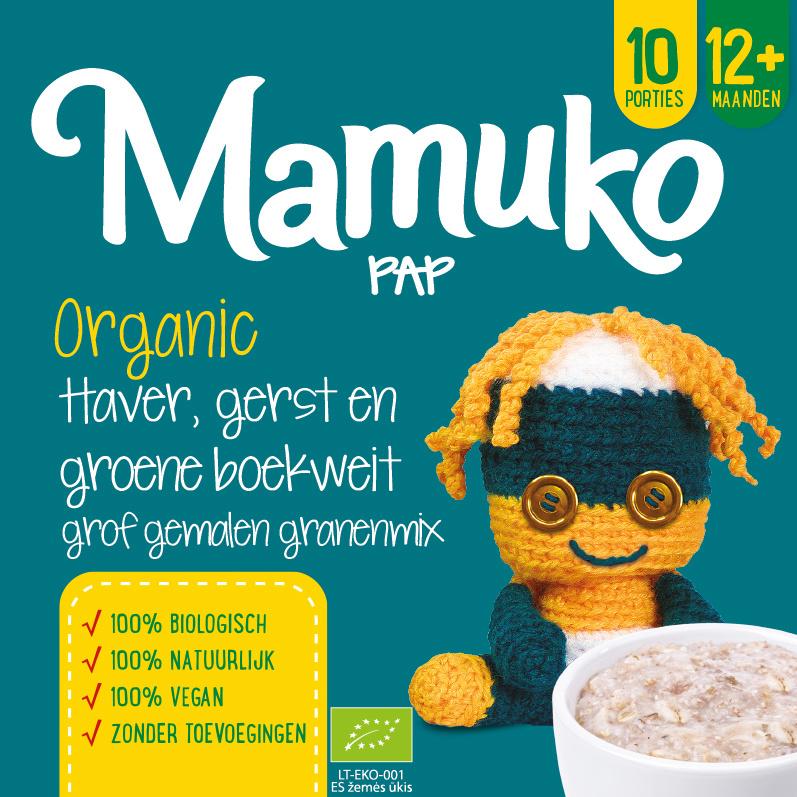 Mamuko biologische pap 12+ mnd. - Haver, gerst en groene boekweit