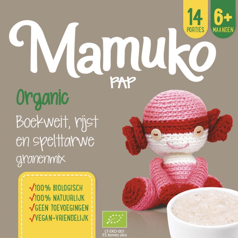 Mamuko biologische pap 6+ mnd. - boekweit, rijst en spelttarwe granenmix