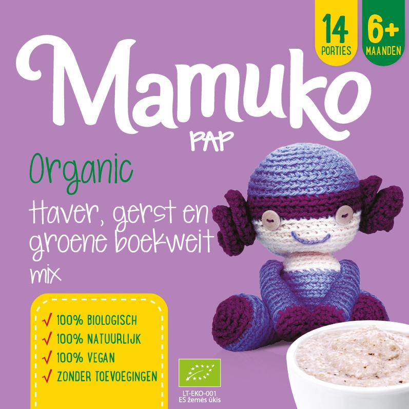 Mamuko bouillie bio l'avoine, l'orge et sarrasin vert 6+ mois