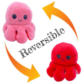Moody octopus omkeerbare knuffel rose/rood