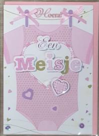 Wenskaart 3d geboorte meisje