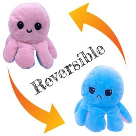 Moody octopus omkeerbare knuffel rose blauw