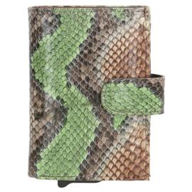 Charm pasjeshouder  17999 cognac green slangenprint