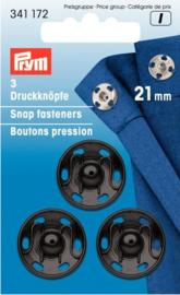 Prym 341172 Drukkers zwart 21 mm. (krt)