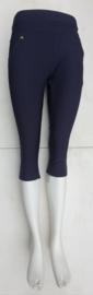 stretch comfort broek   model capri donker blauw