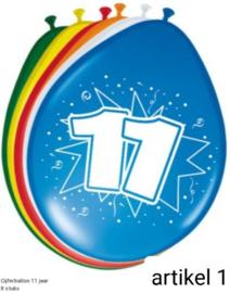 ballonen  11 t/m 20 jaar 8 stuks in verpakking klik hier op voor de andere leeftijden