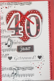 Wenskaart 3d 40 jaar getrouwd