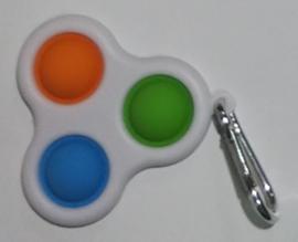 Pop the bubble sleutelhanger  oranje/blauw/groen.