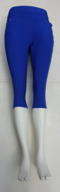 stretch comfort broek   model capri kobalt blauw