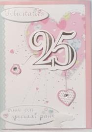 wenskaart 3 d 25 jaar getrouwd r