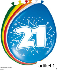 ballonen 21 t/m 65 jaar 8 stuks in verpakking klik hier op voor de andere leeftijden