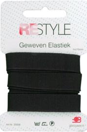Restyle geweven elastiek zwart 1m/15mm