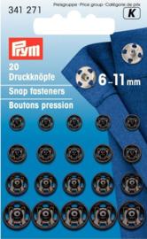 Prym 341271 Drukkers zwart 6-11 mm. (krt)
