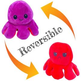 Moody octopus omkeerbare knuffel paars/rood