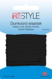 Restyle Dunkoord elastiek zwart 4m/1,4mm