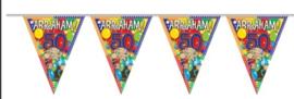 Vlaggenlijn 10 meter met leeftijden Abraham