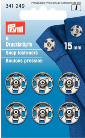 Prym 341249 Drukkers zilver 15 mm. (krt)