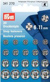 Prym 341270 Drukkers zilver 6-11 mm. (krt)