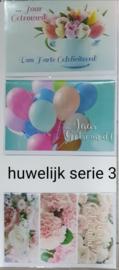 3 wenskaarten met envelop huwelijk/huwelijks jubileum keuze uit 10 series (b) klik hier voor de andere series