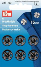 Prym 341169 Drukkers zwart 15 mm. (krt)