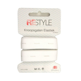 Restyle Knoopsgaten elastiek wit 1m/18mm