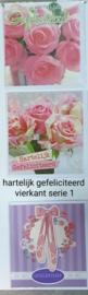 3 stuks wenskaart vierkant hartelijk gefeliciteerd bloem met envelop keuze uit 10 series klik hier voor de andere series