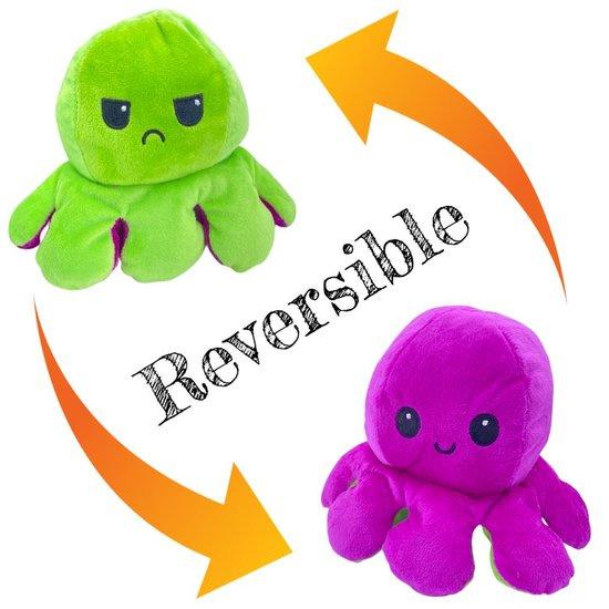 Moody octopus omkeerbare knuffel groen/paars