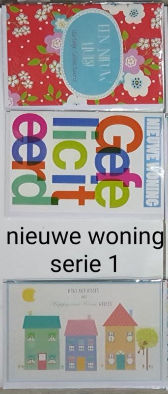3 wenskaarten met envelop nieuwe woning keuze uit 10 series .klik hier voorde andere series