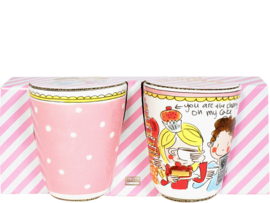 Set 2 Mugs Pink Dot