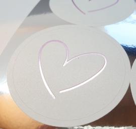 Vel 10 stickers hartonder de riem - rose
