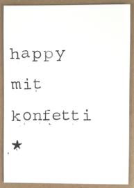 Happy mit konfetti