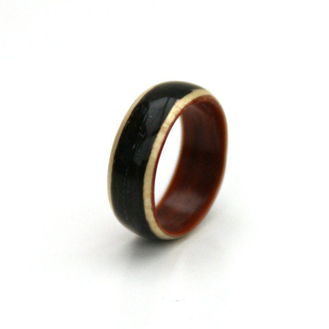 Houten ring driekleurig
