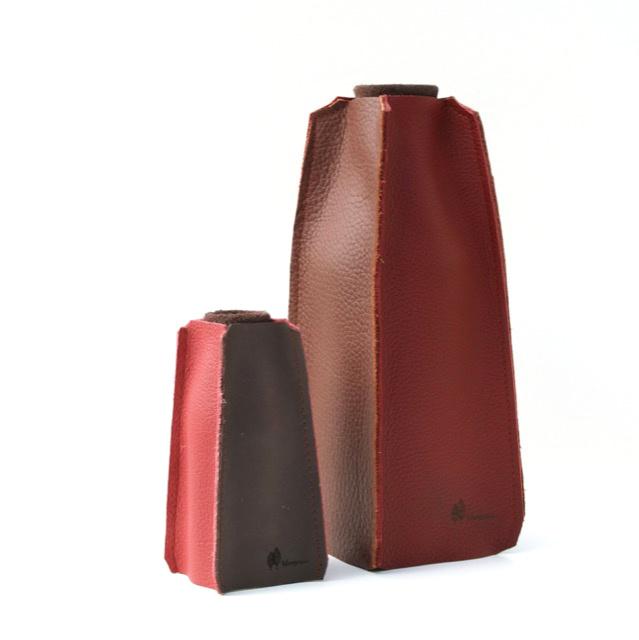 Leren vazen set bordeaux-chocolade bruin