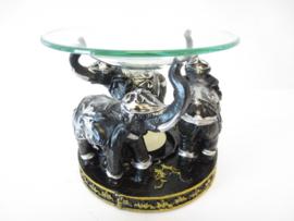 Olifanten oliebrander zwart/zilver