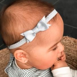 Lichtblauw newborn baby haarbandje kant met strik