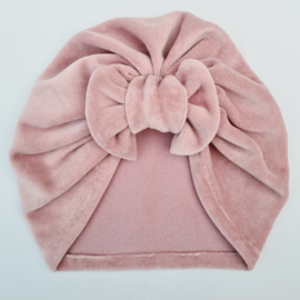 Turban velours dusty pink