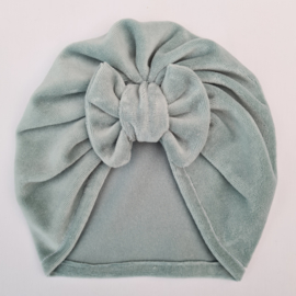 Turban velours dusty mint