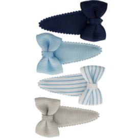 Setje baby haarspeldjes met strik blue stripes