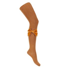 CONDOR - Kousenbroek met velvet strik zijkant cinnamon