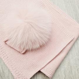 Dusty rose sjaal met strik en pompon